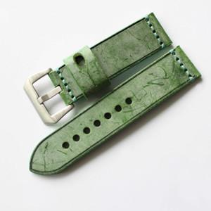Vert Bleu Rouge Noir Marron Vintage Bracelet en cuir avec boucle en acier bandes 20 mm 22 mm 24 mm 26 mm Livraison gratuite 2pc / Lot