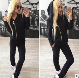 hot!!2017 Women's spring autumn sexy zipper tracksuits casual long-sleeved jacket coat female color two pieces sports suit M88#