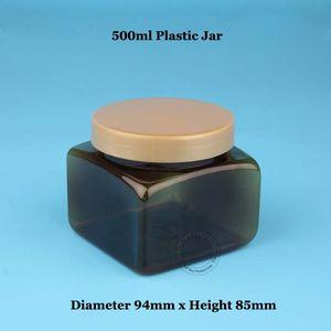 3 unids / lote Nueva Alta Calidad 500 ml Empty Amber Plastic Jar 50 / 3OZ Facial Mask Cream Vial 500g Contenedor de Maquillaje Cosmético Recargable