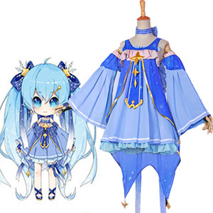 Anime Malidaike VOCALOID Snow Miku Hatsune Star Princess Dress Outfit Costume Cosplay Design molto bello