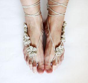 Playa Crochet boda Sandalias descalzas Pure Crochet hecho a mano de punto Sandalias descalzas Joyería Sandalias descalzas con cordones Beach Wedding Party Tobillo