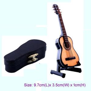1/12 escala Acústica Instrumento Musical Casa De Bonecas Em Miniatura Móveis sala de Música Mini Folk Guitar Music Figura brinquedo com Caso Suporte