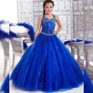 2018 Vestidos baratos para las niñas del cabestro Vestidos de noche para niños Azul con cuentas Royal Blue Flower Girls vestidos largos para niños