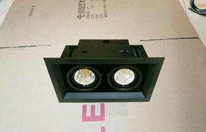 Regulável 2x12 W Duplo Praça LED Downlights de chips COB 3 anos de garantia Branco Quente ou Frio Branco iluminação interior Frete grátis