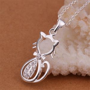 Collana con gioielli in argento sterling in argento in intarsio di nozze per le donne WN312, Nizza 925 collane pendente in argento con catena