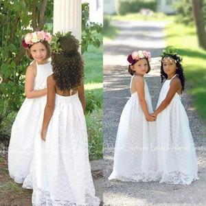Beach Boho Flower Girls Dresses For Weddings 2018 Economici Halter Full Lace Backless Piano Lunghezza Prima Comunione Dress Custom Made