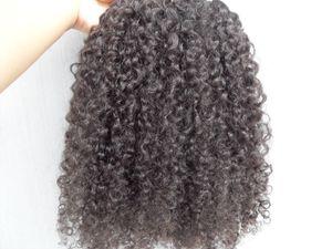 бразильский человека Девы наращивание волос 9 шт. клип в волос кудрявый вьющиеся волосы стиль темно-коричневый натуральный черный цвет