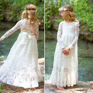 Volle Spitze Blumenmädchen Kleider Sheer Long Sleeve Erstkommunion Kleider 2019 Bodenlangen Kinder Formelle Kleidung Mädchen Kleid für Hochzeiten