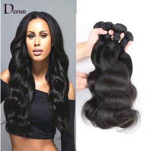 Compre 3 y obtenga 4! Body Wave Extensiones de cabello humano Brasileño-indio Indio Paquetes de cabello peruano Pelo virgen sin procesar