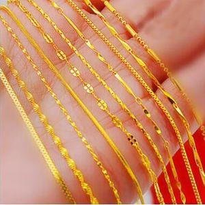 18 позолоченные ожерелье 24K евро вьетнамский песок золото цепи Оптовая короткий пункт покрытием истинный цвет золото цепь ключицы цепи