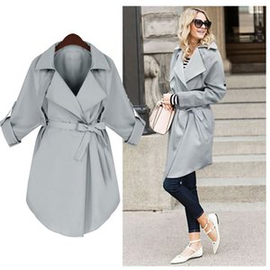 Autumn Women Trench Coat Long Classic Blue Windbreaker Trench Quarter Sleeve Loose Coat With Belt