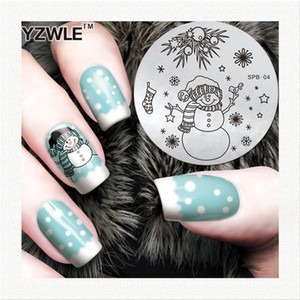 Atacado-YZWLE Flower Christmas Vintage Padrão Stamping Nail Art Image Plate 5.6cm modelo de aço inoxidável polonês Manicure Stencil Tool