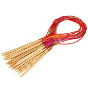 Multi-cor Knitting Tools 18 Pçs / set Suave Natureza Circular De Bambu Carbonizado Agulhas De Tricô Artesanato Fio ferramenta Conjuntos