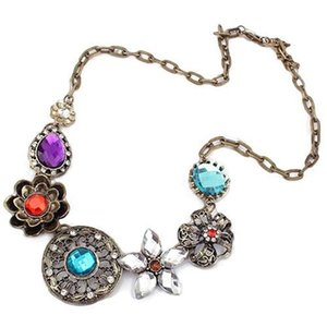 Vintage Women Crystal Flower Chain Choker Chain Bib Statement Necklace Fashion Jewelry Dfering sautoir Pendant Necklaces Best Gift Free DHL