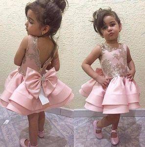 2017 Girl Pageant Dresses for Wedding Flower Girl Dress a-line длина до колена атласные кружева лук розовый Пром платья для девочек mariage