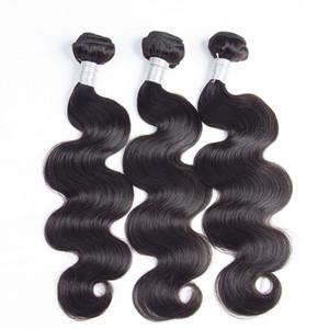 LUMMY Unprocessed Brazilian Body Wave Virgin Hair Weft Human Hair Peruvian Indian Malaysian Hair Extensions 3 PCS Double Weft Natural Black