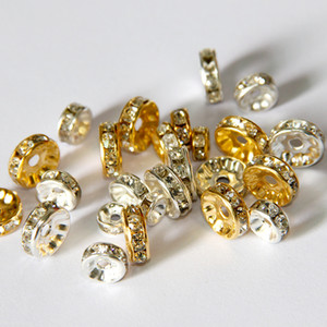100pcs / lot lega di cristallo rotondo perline distanziatori perline 6mm 8mm 10mm oro argento branelli allentati per collane braccialetto risultati dei monili componenti