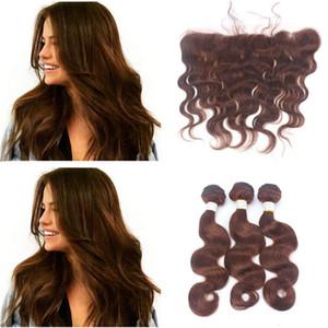 9A marrón chocolate visón brasileña onda del cuerpo virginal del pelo humano paquetes con color # 4 medio marrón 13 * 4 oído a oído encaje frontal cierre