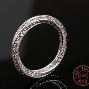 Anello Eternity reale Pietra piena di lusso 5A Zircon Birthstone 925 Sterling Silver Women Wedding Ring Fidanzamento Dimensione 5-10 regalo