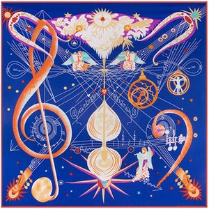Silk Square Scarf Colorful Women's Pashmina Music Notes Print Scialli con scialli avvolgenti