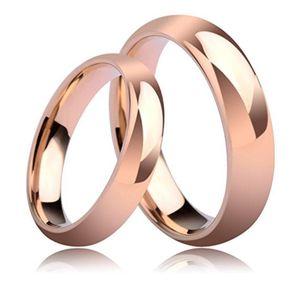 4mm 6mm Son Her Tungsten Wedding Bague Couple Bague Set Or Rose Haut Polonais 6-14 #