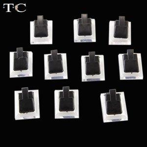 Gioielli all'ingrosso basamento del Tc plastica Pasqua 15pcs / lot Black Clear dell'anello dell'esposizione dei monili della clip vetrina del basamento Holder 1.3x1 pollici