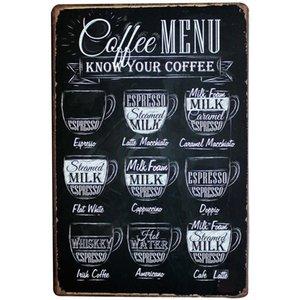 Venda por atacado - MENU DE CAFÉ Decoração Placa de metal da lata de café Placa de menu de café vintage para ESPRESSO AMERICANO LATTE CAPPUCCINO LJ5-13 20x30cm A1