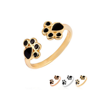 2017 New Arrival Wholesale Kpop Adjustable Fashion Animal Cat Paw Print Ring Black Oil Rings for Women Men EFR087