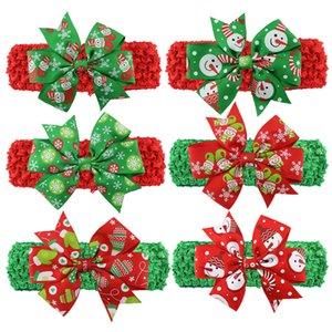 Bambino di natale per bambini Fasce Happy xmas pattern Hairbands annodata Bow fascia di modo colorato di Santa copricapo Indossare la fascia dei capelli