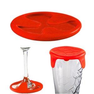 Wholesale- 2 in 1 Hitzebeständige Anti-Rutsch-Silikon Weinflasche Becher Untersetzer-Matten-Auflage-Schalen-Kappe Cap