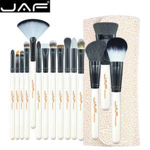 Jaf Studio 15 Piece Brush Brush Kit سوبر شعر ناعم بو الجلود حالة حامل المكياج فرشاة مجموعة أدوات التجميل الجمال J1504c -W