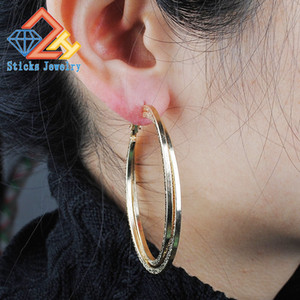 Big hoop earrings fashion jewelry wholesale plated shallow KC Jintie round of large-size women jewelry earrings