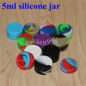 Contenants de cire antiadhésifs Silicone Box 5ml Silicon Container Cire de qualité alimentaire jarres Dab outil stockage Jar huile titulaire pour vaporisateur Vape