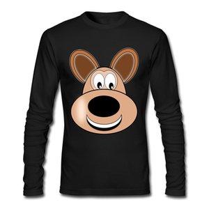 Hot Sale Men's long sleeve T-Shirts Cotton 4 Colors Crew Neck Sweatshirts Size S-XXL Dog Head Shirts