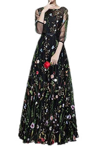 Scoop 3 4 Sleeves Floral Embroidery Evening Dresses Printed Party Gowns Latest Design Multicolored A Line Custom Made Special Occasion