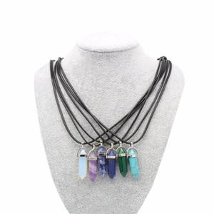 Collar de Cristal semiprecioso Cuarzo Natural Amatista Turquesa Chakra Gem Piedra Cordón de Cera Colgante Collares Para Las Mujeres