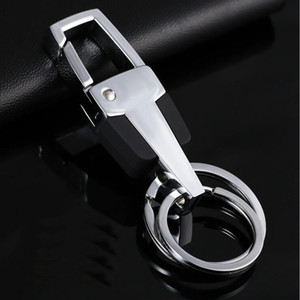 Men Metal Keychains Hot Sale Double Rings Keychain Key Chains Keyring Key Ring Keyfob Promotion Gifts Wholesale Free Shipping 0065CHR