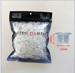 Wholesale-500pcs 13mm Medium Size Plastic Disposable Tattoo Ink Holder Cups Pigment Supplies Permanent Makeup