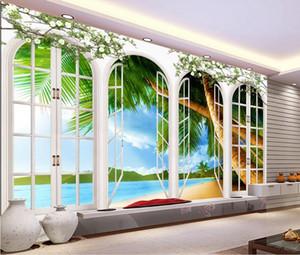 Plaj Coconut Grove Dışında 3D Pencere Arka Plan Duvar duvar 3d duvar kağıtları 3d duvar kağıtları için tv backdrop