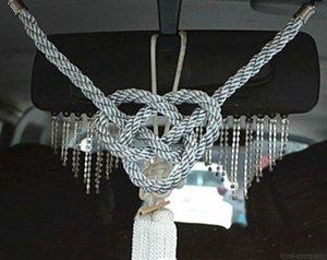 2 pezzi grigio con bianco auto auto camion 2 in 1 cina kiku nodo kin corda specchietto retrovisore charms regalo vip grigio lusso corda bianco nodo cinese