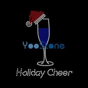 Vacances Cheer Obtenez vos dessins de transfert de strass Merry On Wine pour T Shirt