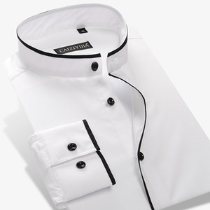 Al por mayor-Verano 2017 hombres con cuello redondo Mandarin camisa de manga larga 100% algodón Slim Fit de color sólido para hombre de negocios Casual camisas de vestir