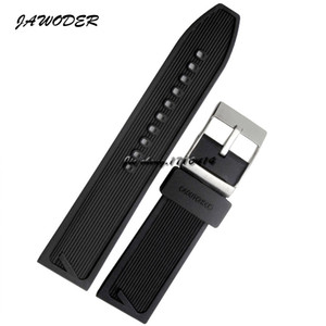 Jawoder Watchband 24mm Hommes Black Waterproof Diving Silicone Caoutchouc Sangle Sangle En Acier Inoxydable Pin argent Boucle à montre