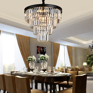 Lustres en cristal art américain de fer noir lustres salon moderne pendentif éclairage lampe de chambre à coucher, lampe de cristal gris fumée