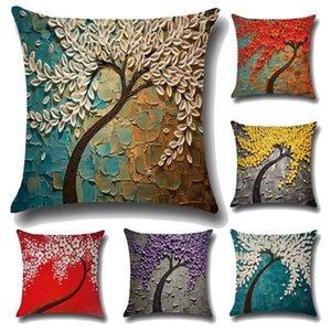 Retro Kissenbezug Dekoration Malerei Farbe Blumen Dekorative Kissenbezug Drucken Digitaldruck Kissenbezug Kissenbezug für Geschenke