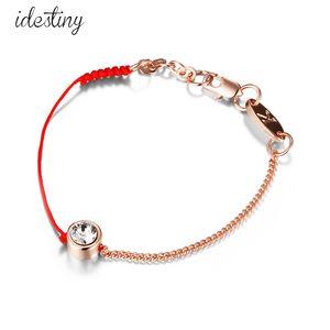 dünnes rotes und schwarzes Schnur Faden Schnur Seil Linie Armband mit Kristallen aus dem österreichischen vergoldeter Kette Frauen Geschenk