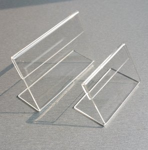 Various Smaller Size T1.2mm Clear Acrylic Plastic Sign Display Paper Label Card Price Tag Holder L Shaped Stand Horizontal On Table 50pcs
