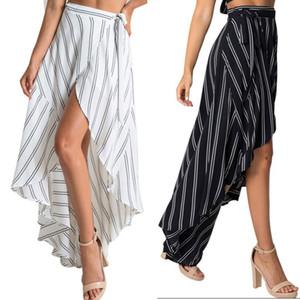Sexy Lady Femmes en tissu Salut-Lo Boho Maxi Jupe Avec Rayé Imprimé Irrégulier Robes D'été Plage Longue Robe ZL3257