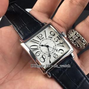 NEW Master Square 6002 M QZ V Автоматические мужские часы 40 мм Белый циферблат Серебряный корпус черный Кожаный ремешок Square Gents soprt watches