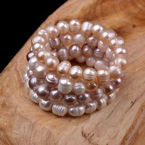 100% Art und Weise weiß / Rosa 8-12mm natürliche Süßwasser unregelmäßige Perle Armband Perlen Stretch Armband elastische Braut Armband